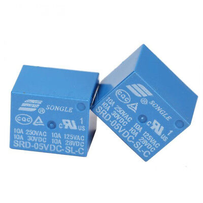 10pcs Mini 5V DC SONGLE Power Relay SRD-5VDC-SL-C PCB Type