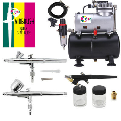 OPHIR 3-Airbrushes Dual Action & Single Action Air Compressor Kit for Nail Art