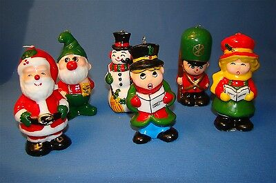 Colorful Vintage 1960's era 6 piece Christmas Candle set New in Box!