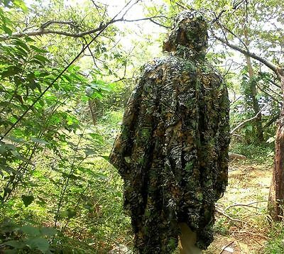 3D Leaves Yowie Ghillie Poncho Woodland Camouflage Poncho Breathable Open Cloak