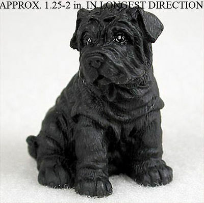 Shar Pei Collectible Mini Resin Hand Painted Dog Figurine Black