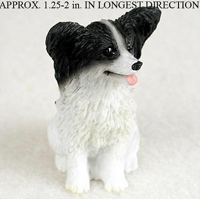 Papillon Mini Hand Painted Figurine Black/White