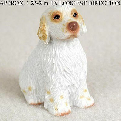 Clumber Spaniel Mini Resin Dog Figurine Statue Hand Painted