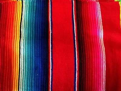 Large New Bright Red Genuine Mexican Sarape Hot Rod Blanket Rug Picnic Throw