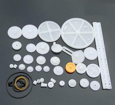 34 Kinds Plastic Shaft Rack Reduction Worm Gears Belt Pulley DIY For Robot NEW