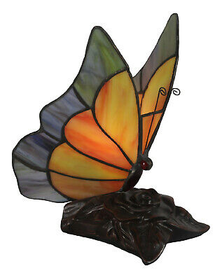 19Cm Tiffany Style Table Lamp Butterfly Glass Shade Free Light Bulb