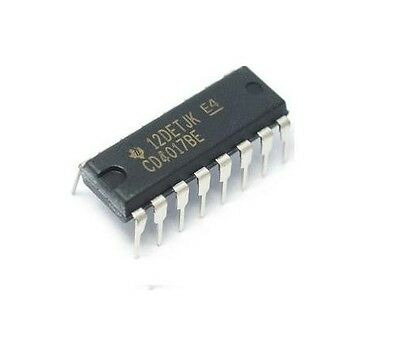 10PCS Texas Instruments - CD4017 - CD4017BE - Decade Counter IC