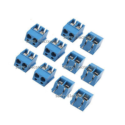 10 pcs 2P 2 Pin Plug-in Screw Terminal Block Connector 5.08mm Pitch Through Hole