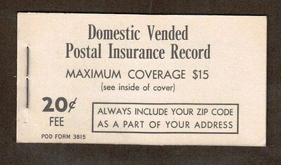 Domestic Vended Postal Insurance Record Booklet.      #02 DVPIR