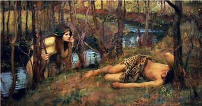 Ölbilder Ölgemälde Gemälde The Naiad, 1893 (Hylas with a Nymph 40x75cm