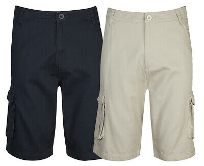 CARGO BAY Mens Gents Cargo Shorts 100% Cotton Twill Chino Zip Fly Multi Pocket