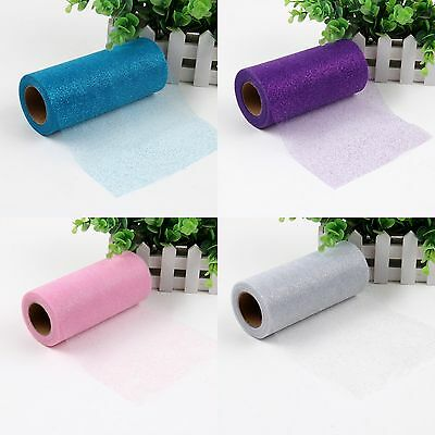 "6""x25yd Glitter Tulle Roll Tutu Wedding Gift Fabric Bow Carft Spool Party Decor"