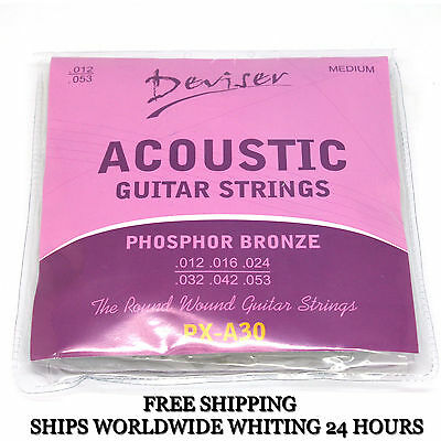 1 Set 6 Pcs PHOSPHOR BRONZE Steel Acoustic Guitar Light Strings DEVISER PX-A30