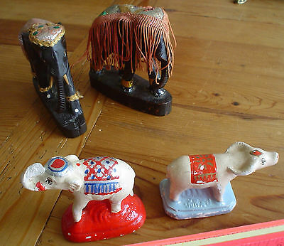 Nice Lot of Vintage Elephants from India 2 Carved 2 Chalkware Water Buffalo
