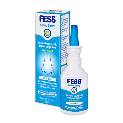 Fess Saline Nasal Spray 75Ml Natural Congestion Relief Sinus Hayfever Colds