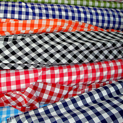 "30 ft Checkered Fabric 60"" Wide Gingham Buffalo Check Tablecloth Fabric Decor"