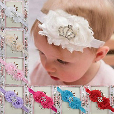 Kids Girl Baby Headband Toddler Lace Crown Flower Hair Band Accessories Headwear