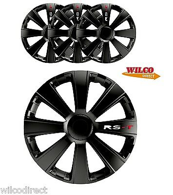 "15"" Rst Black Wheel Trims Set 4 Car Hub Caps 15 Inch 4 Pc"