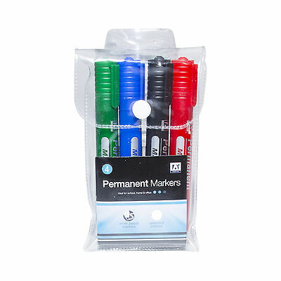 4 Permanent Marker Pens - Glass Or Plastic Or Metal - Red Green Black Blue