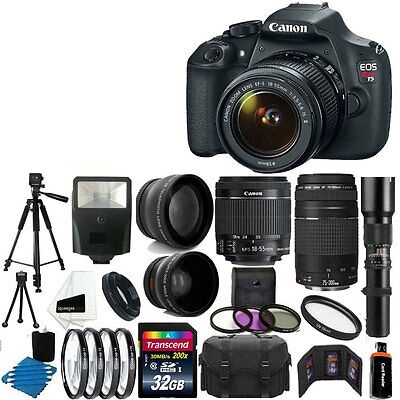 Canon Rebel T5 DSLR Camera 9 Lens 18-55 IS +75-300 +500MM 32GB Best Value Bundle