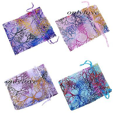 25/50/100Pcs Pro Coralline Organza Jewelry Pouches Wedding Ball Favor Gift Bags