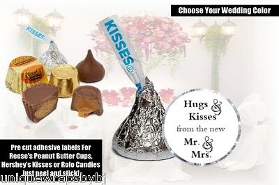 108 Hugs & Kisses from the new Mr. & Mrs. Hershey Kiss, Wedding Stickers Favors
