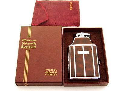 VINTAGE RONSON MASTERCASE LIGHTER & CIGARETTE CASE W/BOX WORKS GREAT ZIPPO FLINT