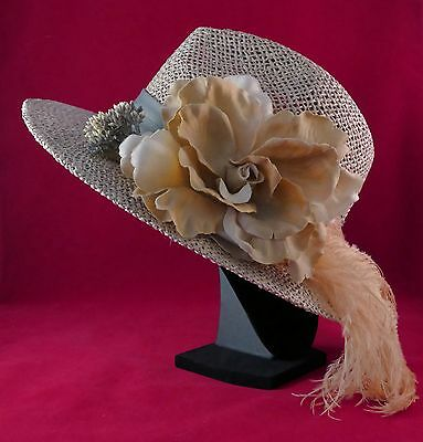 f2e6dfa35d2 Women s Derby Hat Straw Adorned With Genuine Feather Small Medium
