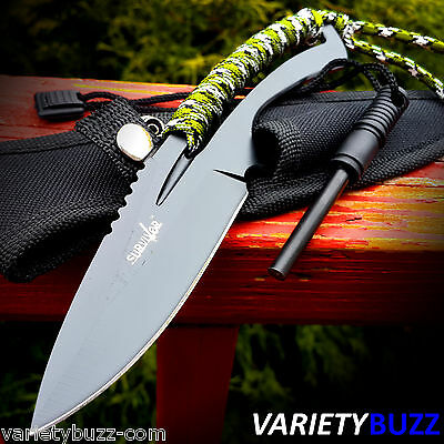 """8"""" TACTICAL COMBAT Boot SURVIVAL KNIFE Fire Starter Fixed Blade Jungle Camo NEW!"""