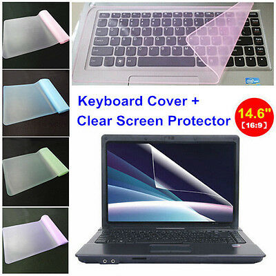 """Clear 14.6"""" Laptop Notebook LCD Monitor Screen Protector Cover+Keyboard Cover"""