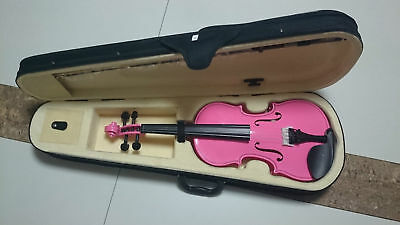 Student Acoustic Violin Full 1/8 Maple Spruce with Case Bow Rosin Pink Color
