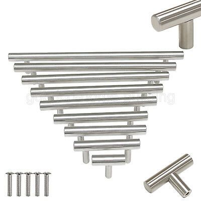 Modern Kitchen Cabinet T Bar Stainless Steel Door Handles Drawer Pulls Knobs Lot