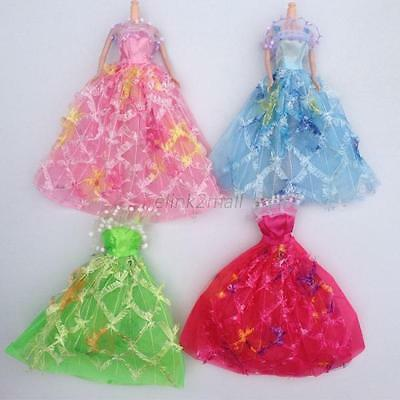 Beautiful Wedding Dress Party Gown Clothes Outfits For Barbie Doll 5Pcs/set