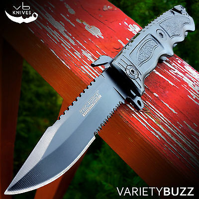 TAC FORCE SPRING ASSISTED FOLDING KNIFE Black Tactical Pocket Blade BOWIE COMBAT