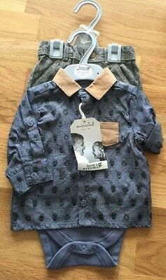 Boys Bows&Arrows Mini Club Baby Outfit Shirt And Trousers 3-6,6-9 months RRP £18