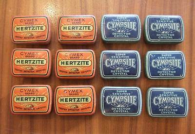 RADIO DETECTOR CRYSTAL 1920's - CYMEX HERTZITE CYMOSITE Vintage Tin Cats Whisker