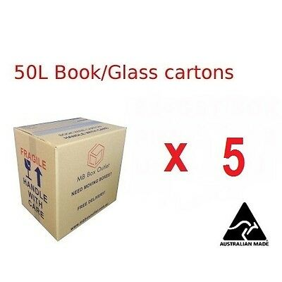 5 x 50L Moving Box 402x298x399mm Cardboard Carton Removalist Shipping