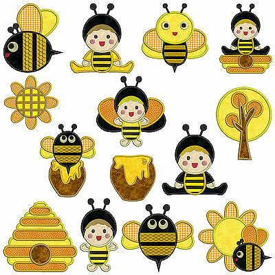 ** BEE BABY ** Machine Applique Embroidery  Patterns ** 14 Designs in3 sizes