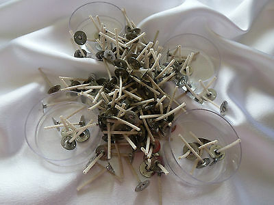 Candle making 50 x MAXI cups light wicks, Cdn 10 size, 33mm long. Free postage.