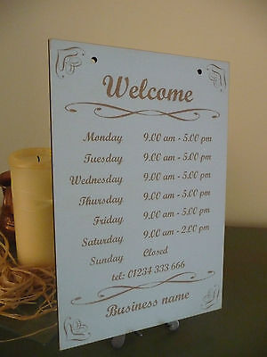 Open Closed Shop Sign Opening Times Hours Wooden Distressed  Window Hanging Chic