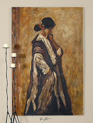 Rustic Hand Painted Oil On Burlap Spanish Woman Painting Wall Art