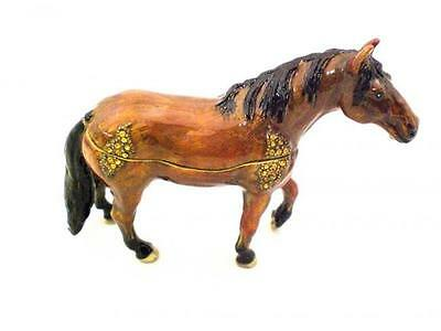 Horse Brown Lg Black Mane Jeweled Swarovski Crystal Trinket Box