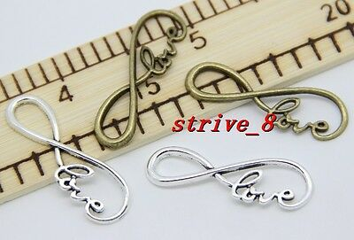 6/30/150pcs Antique Silver Tone 8 Infinity Sign LOVE Charm Connector DIY 39x12mm