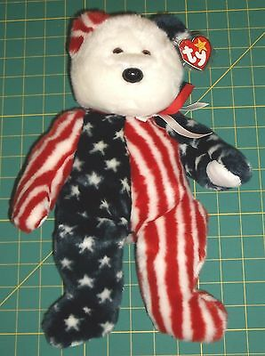Ty-Beanie Buddy-Spangle The Red, White & Blue Bear-New!