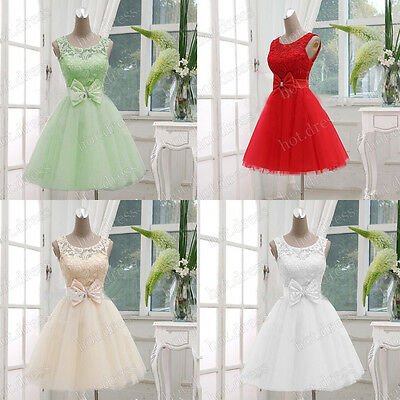 Stock New Formal Prom Party Cocktail Gowns Evening Short Lace Bridesmaid Dresses