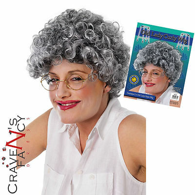Old Lady Curly Wig Grey Pensioner Granny Fancy Dress Costume Accessory