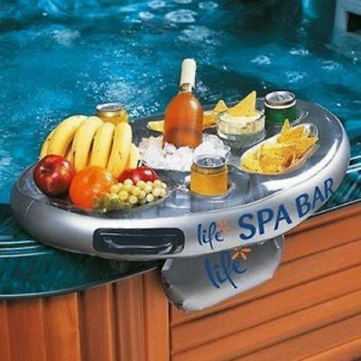 Inflatable Pool Bar Floating Hot Tub for Drinks Pizza Snacks with Side Tray