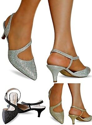 NEW Ladies Diamante Party Evening Prom Low Kitten Heel Court Shoe Size 007