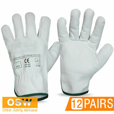 12 Pairs X Premium Cow Grain Leather Safety Work Gloves - Truck/Riggers/Towing