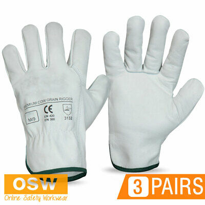 3 Pairs X Premium Safety Cow Grain Leather Work Gloves - Truck/Riggers/Towing